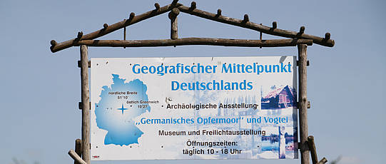 Sign indicating the geographical center of Germany.