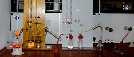 Two Scheibler apparatuses in the laboratory.